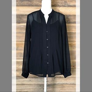 Liz Claiborne sheer black button blouse with shell